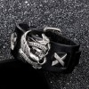Браслет байкерский кожаный широкий Ride To Live черный Твой Браслет LTH164