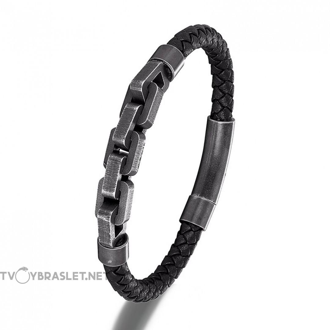 Браслет мужской кожаный с цепью магнитный замок Твой браслет LTH165
