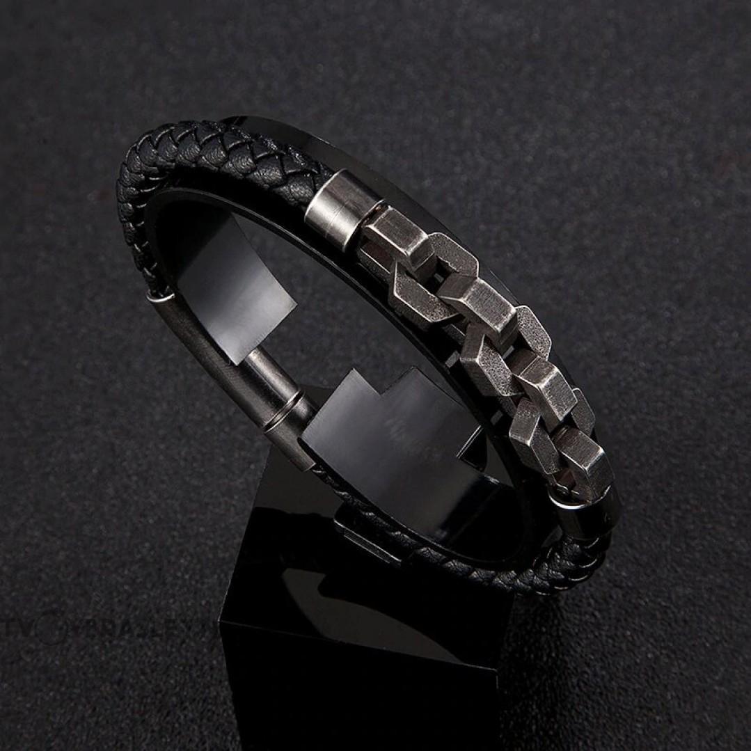Браслет мужской кожаный с цепью магнитный замок Твой браслет LTH166