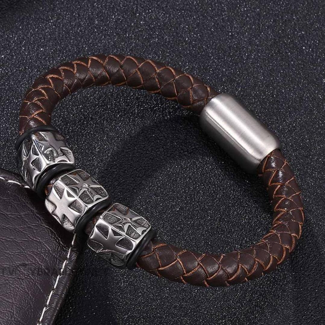 Браслет кожаный Мальтийский Крест Твой браслет LTH167
