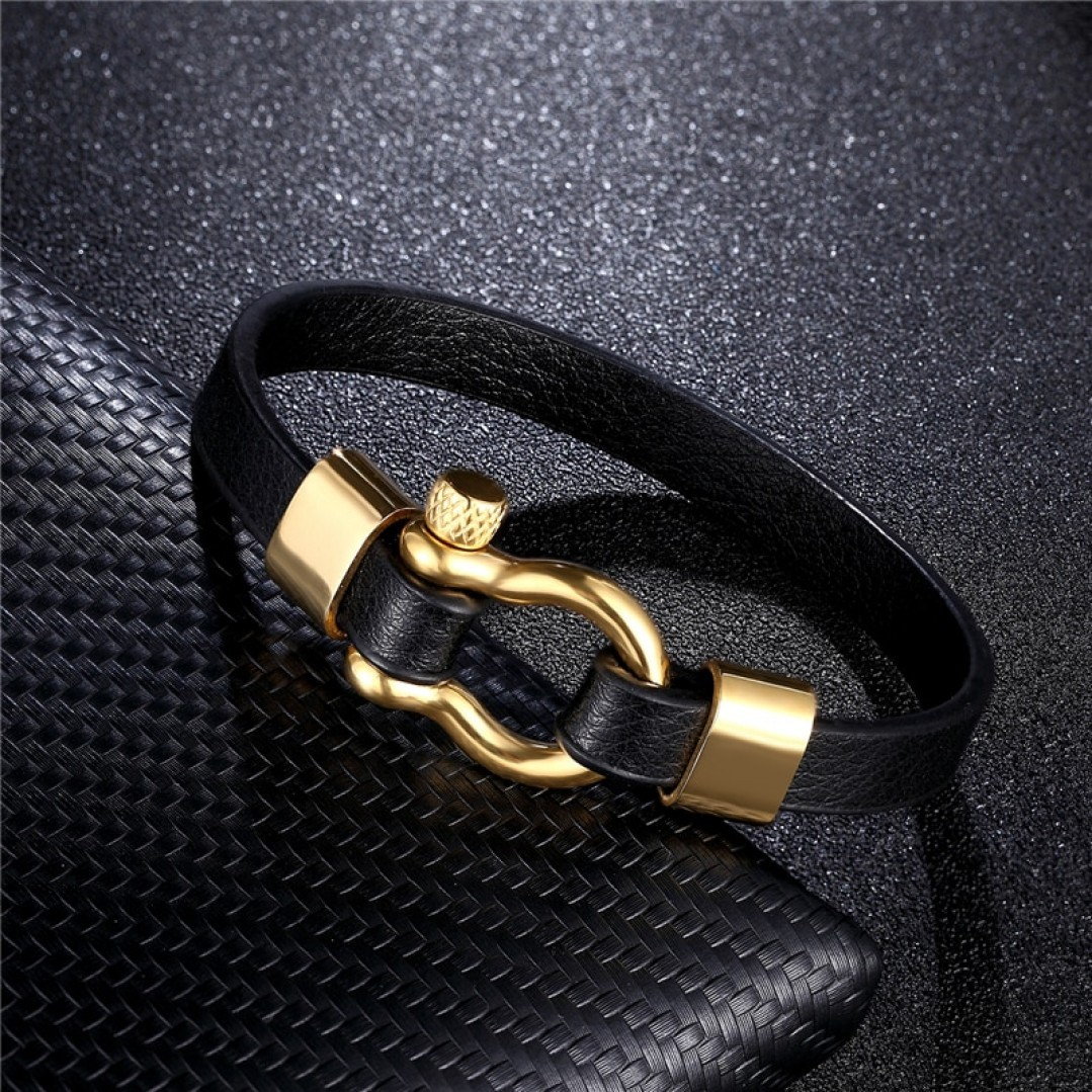 Браслет кожаный с винтовым замком черный Gold Твой Браслет LTH171