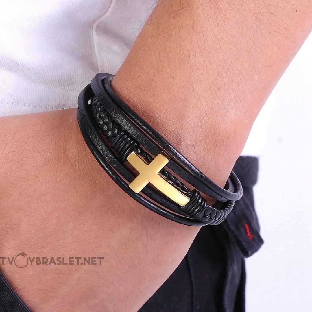 Браслет кожаный с крестом многослойный Gold Твой Браслет LTH174