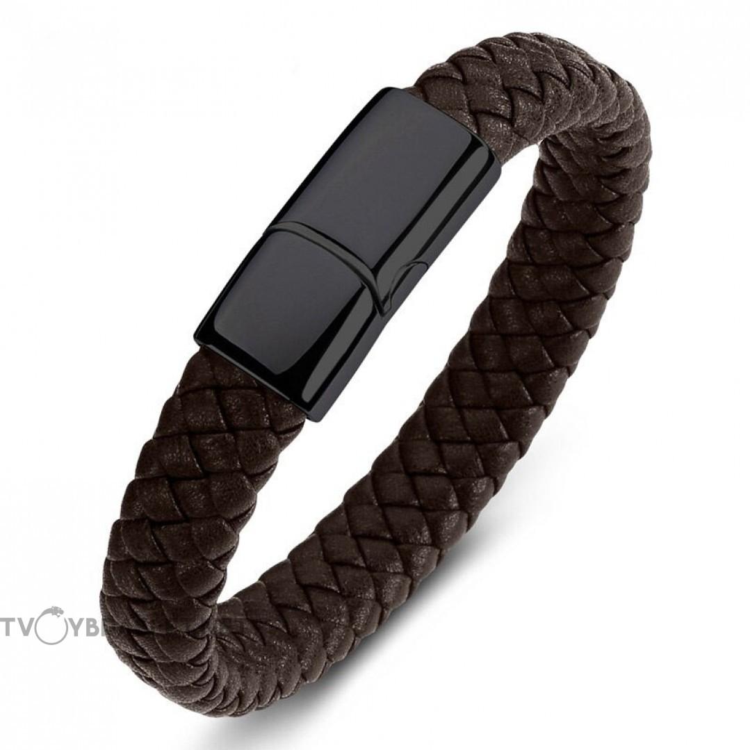 Браслет кожаный коричневый с магнитным замком Твой Браслет Black LTH175