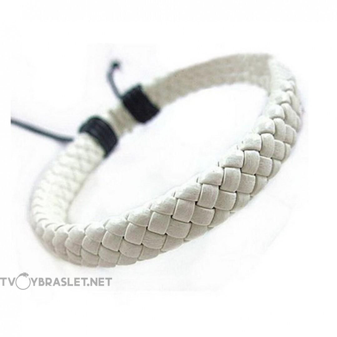 Браслет кожаный плетеный белый Твой Браслет LTH178
