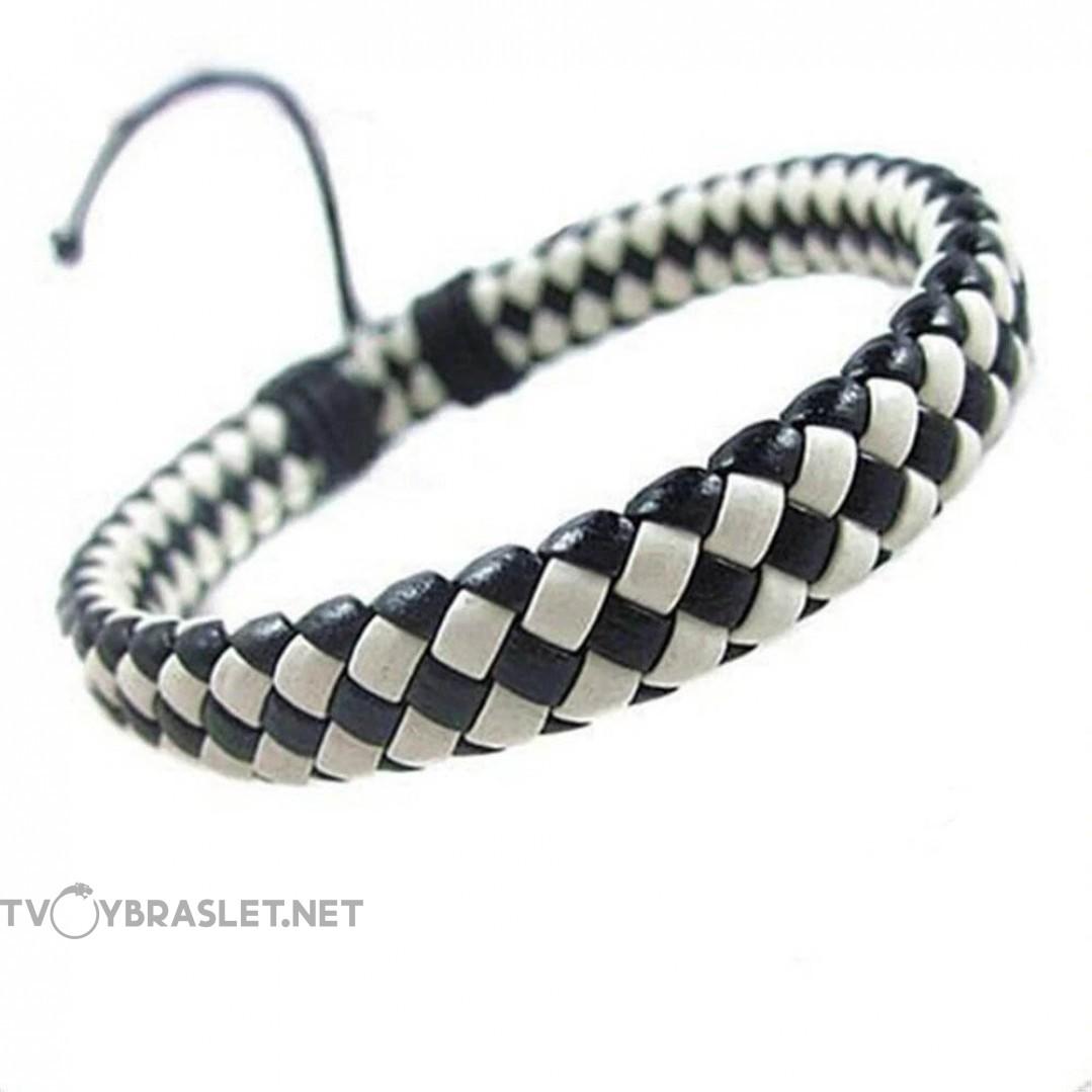Браслет кожаный плетеный белый/черный Твой Браслет LTH181