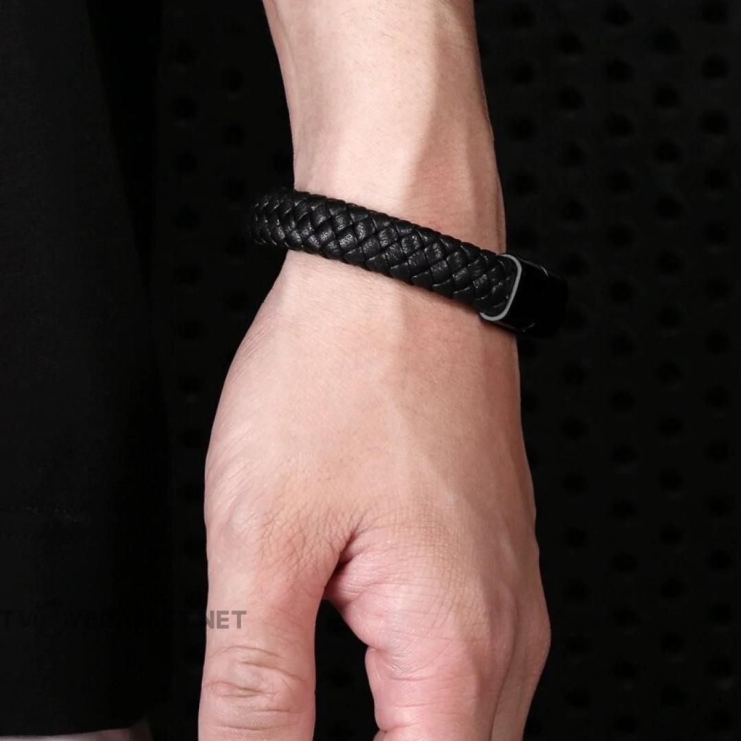 Браслет кожаный черный с магнитным замком Твой Браслет Black LTH183