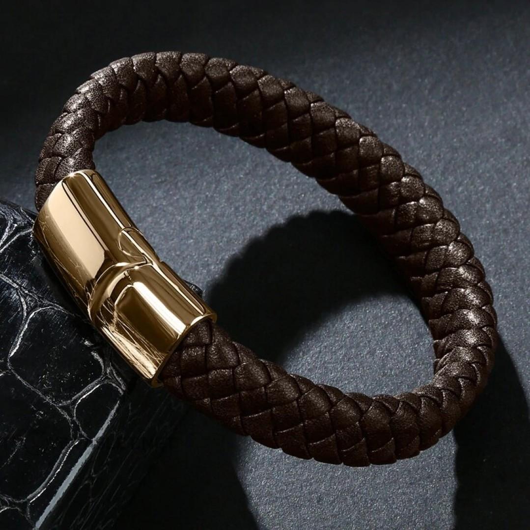 Браслет кожаный коричневый с магнитным замком Твой Браслет Gold LTH184
