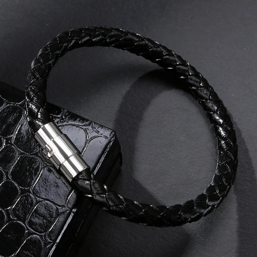 Браслет кожаный с магнитным замком черный Steel LTH185