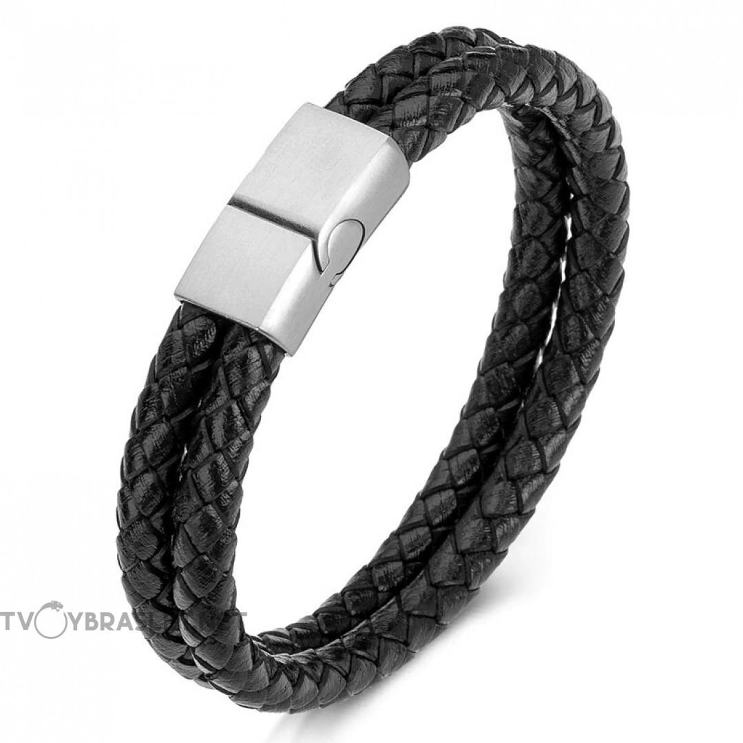 Браслет кожаный двухслойный черный Steel Твой Браслет LTH187