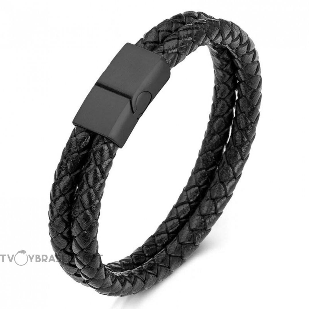 Браслет кожаный двухслойный черный Black Твой Браслет LTH189