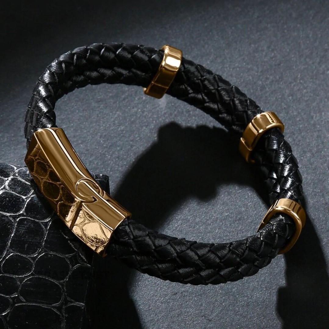 Браслет кожаный двухслойный черный Gold Твой Браслет LTH192