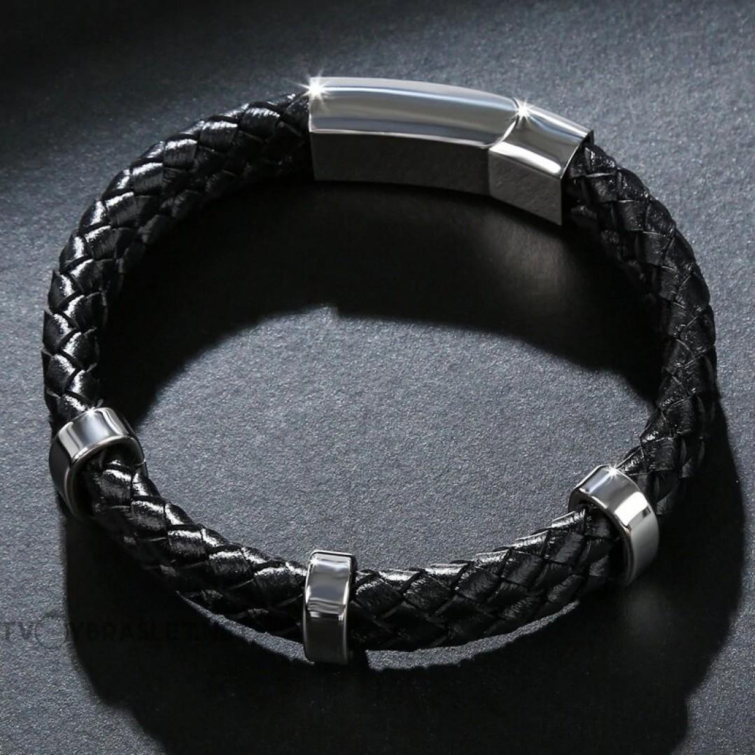 Браслет кожаный двухслойный черный Steel Твой Браслет LTH193