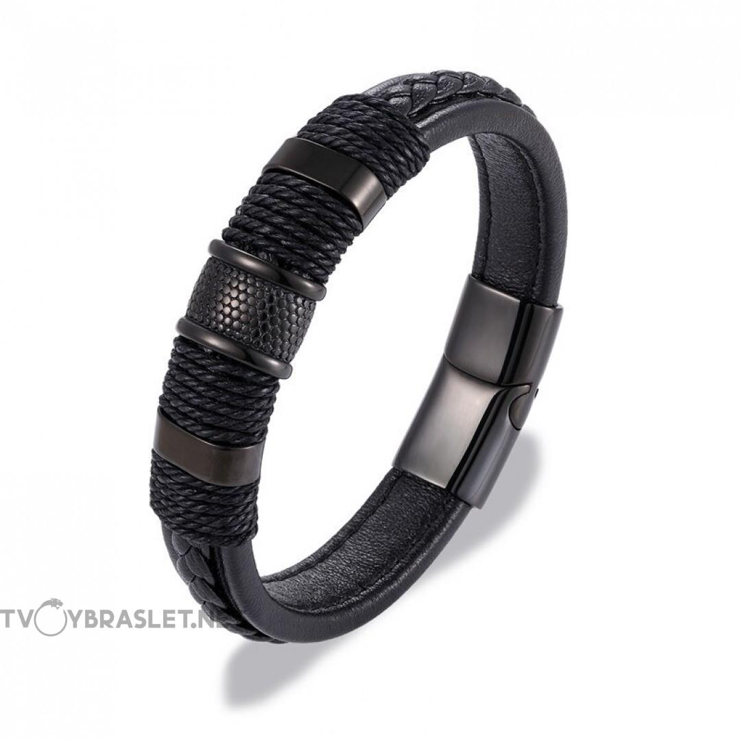 Браслет кожаный с плетением магнитный замок черный Твой Браслет LTH194