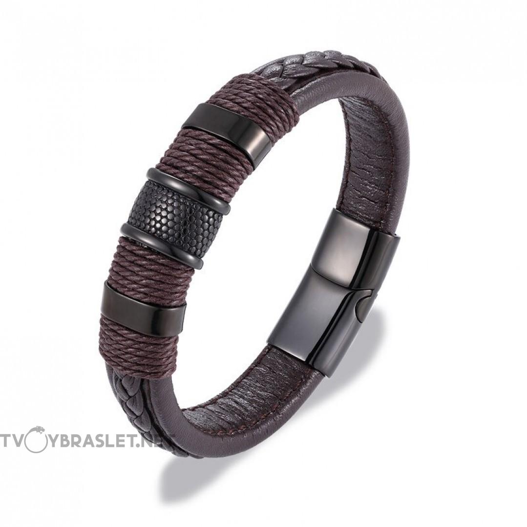 Браслет кожаный с плетением магнитный замок коричневый Твой Браслет LTH195