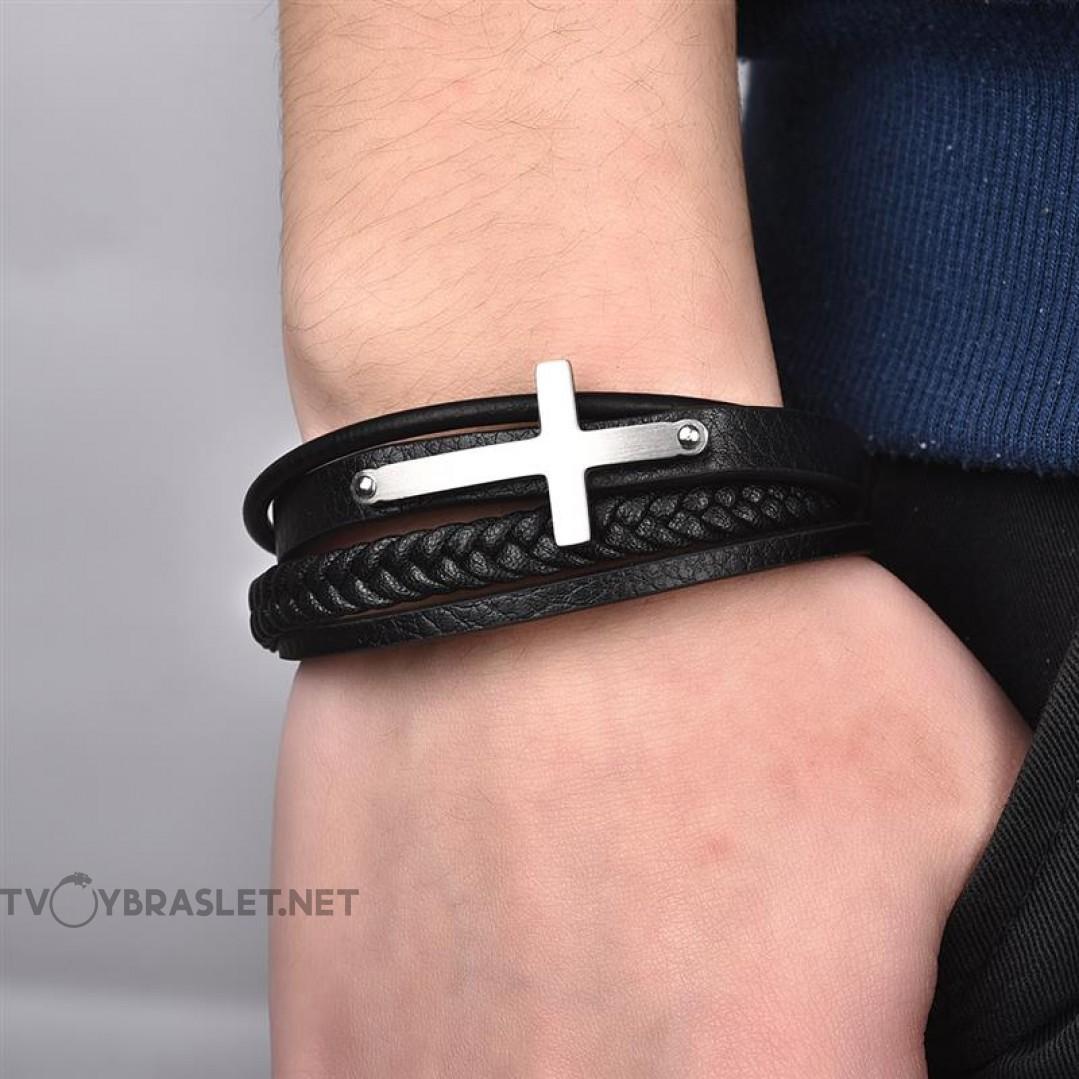 Браслет кожаный с крестом черный многослойный Твой Браслет LTH197