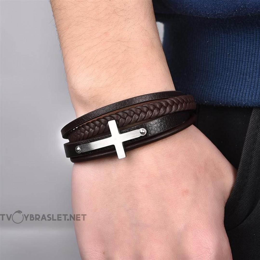 Браслет кожаный с крестом коричневый многослойный Твой Браслет LTH198