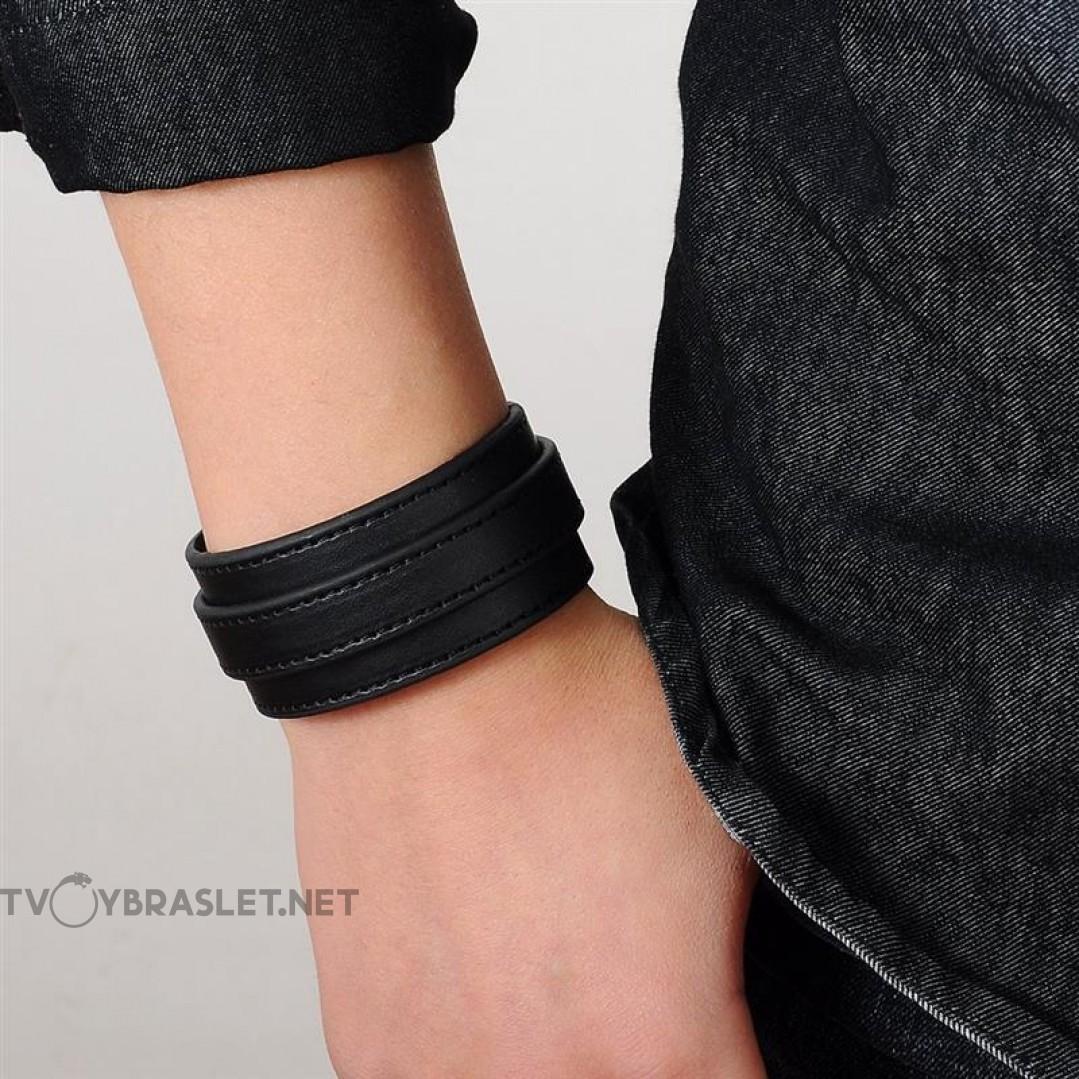 Браслет-ремень кожаный широкий черный Твой Браслет LTH201