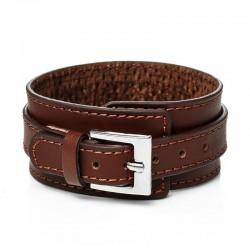 Браслет-ремень кожаный широкий коричневый Твой Браслет LTH202