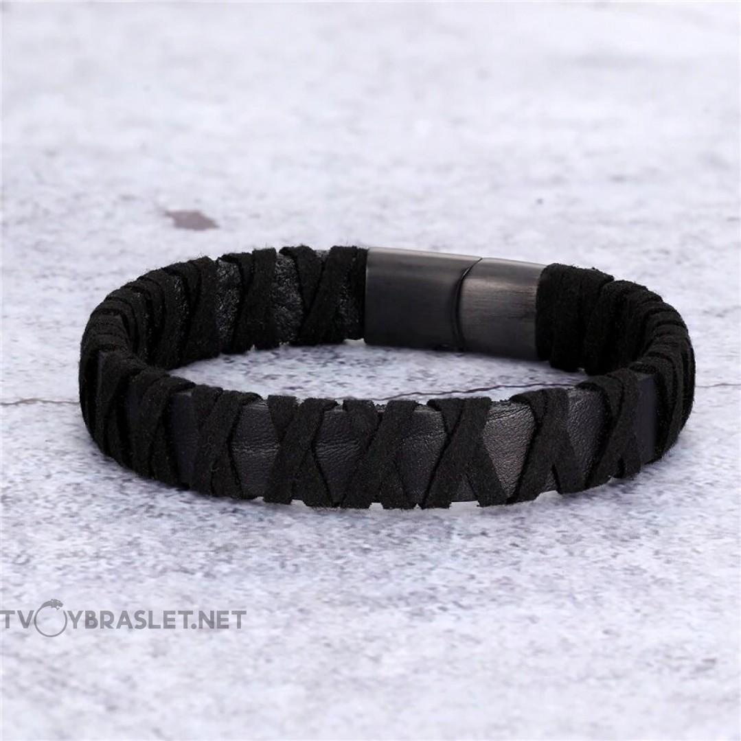 Браслет кожаный плетение замша черный Твой Браслет LTH206