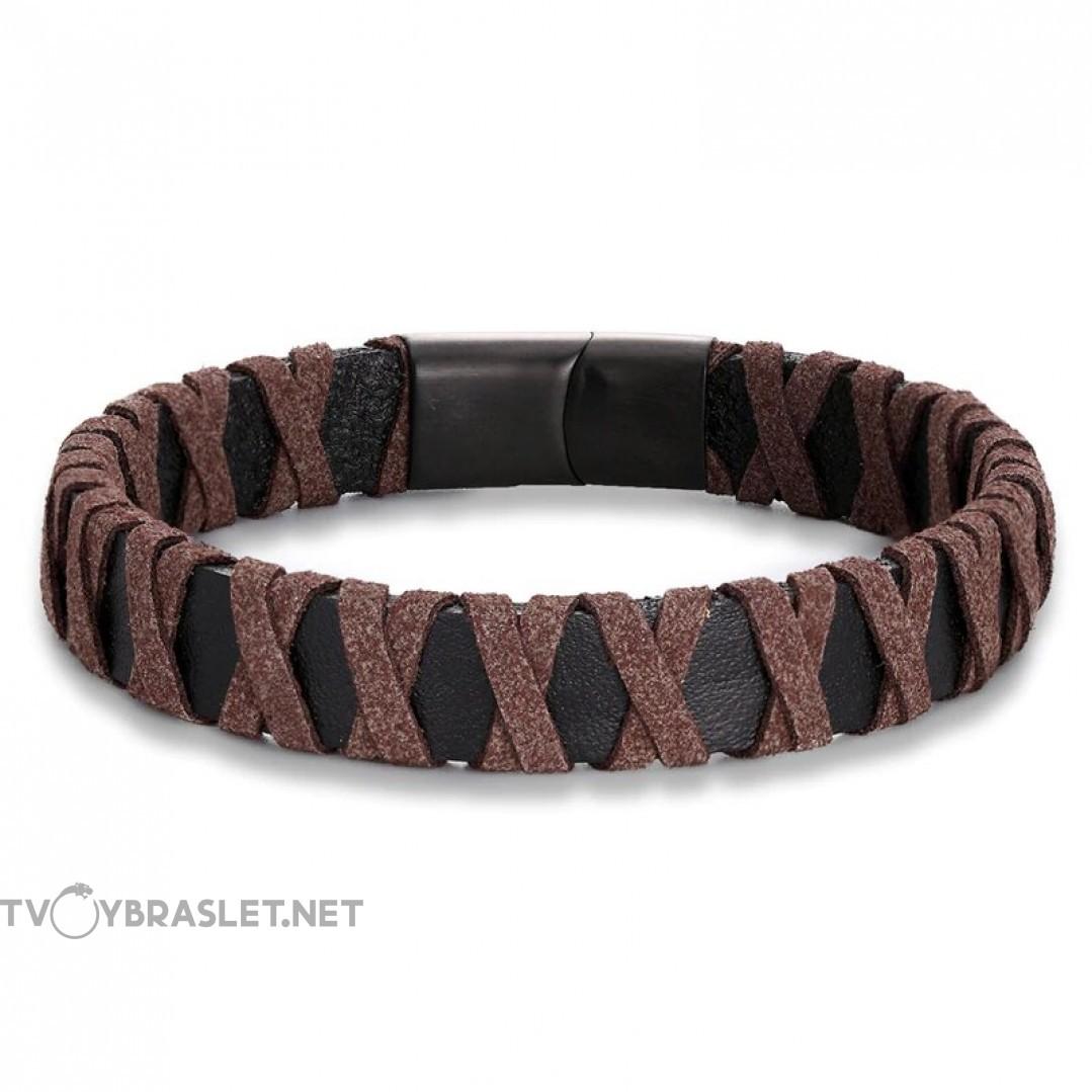 Браслет кожаный плетение замша коричневый Твой Браслет LTH207