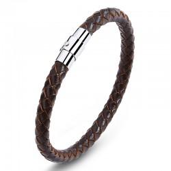 Браслет кожаный с магнитным замком коричневый Steel LTH208
