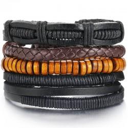 Комплект кожаных браслетов 4 шт Твой Браслет LTH210