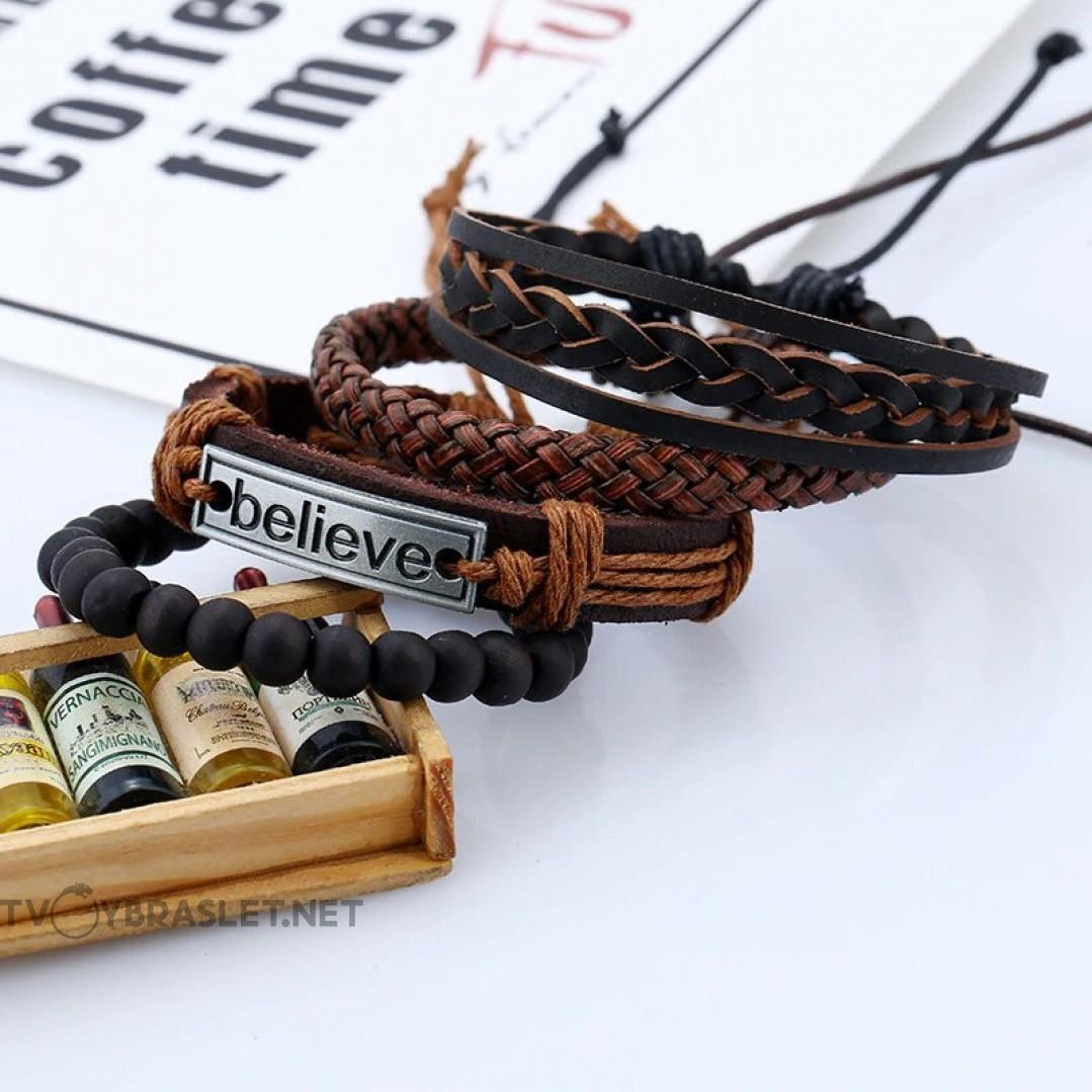 Комплект кожаных браслетов 4 шт Believe Твой Браслет LTH213
