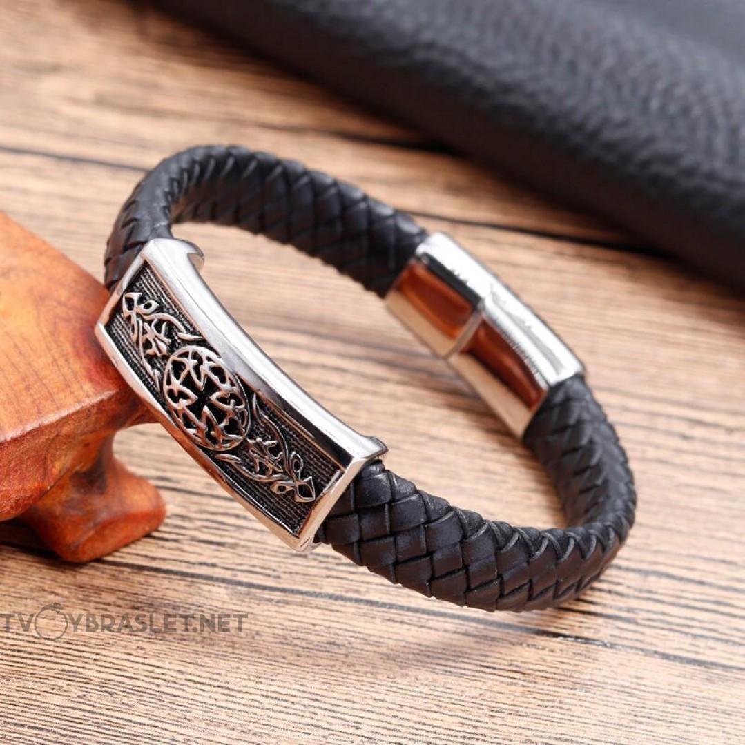 Браслет кожаный со стальной пряжкой черный Твой Браслет LTH217