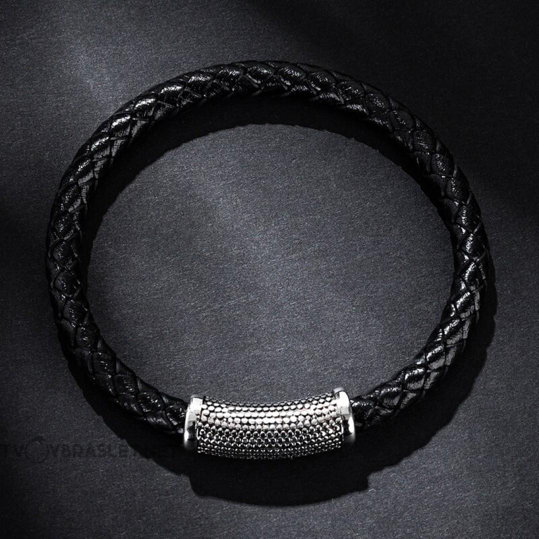 Браслет кожаный с магнитным стальным замком черный LTH218