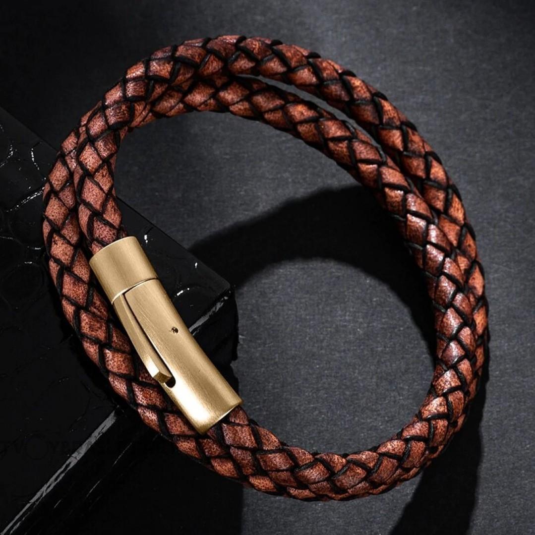 Браслет кожаный в два оборота с магнитным замком коричневый Gold Твой Браслет LTH222