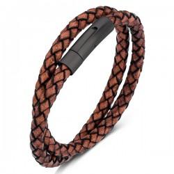 Браслет кожаный в два оборота с магнитным замком коричневый Black Твой Браслет LTH223