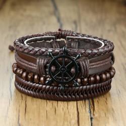 Комплект кожаных браслетов Штурвал коричневый 4 шт LTH228