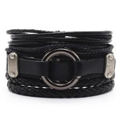 Комплект кожаных браслетов 3 шт черный Твой Браслет LTH229