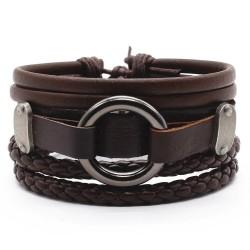 Комплект кожаных браслетов 3 шт коричневый Твой Браслет LTH230