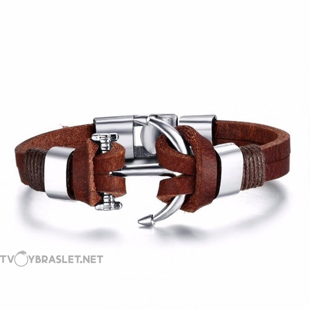 Браслет кожаный с якорем коричневый Твой Браслет LTH233