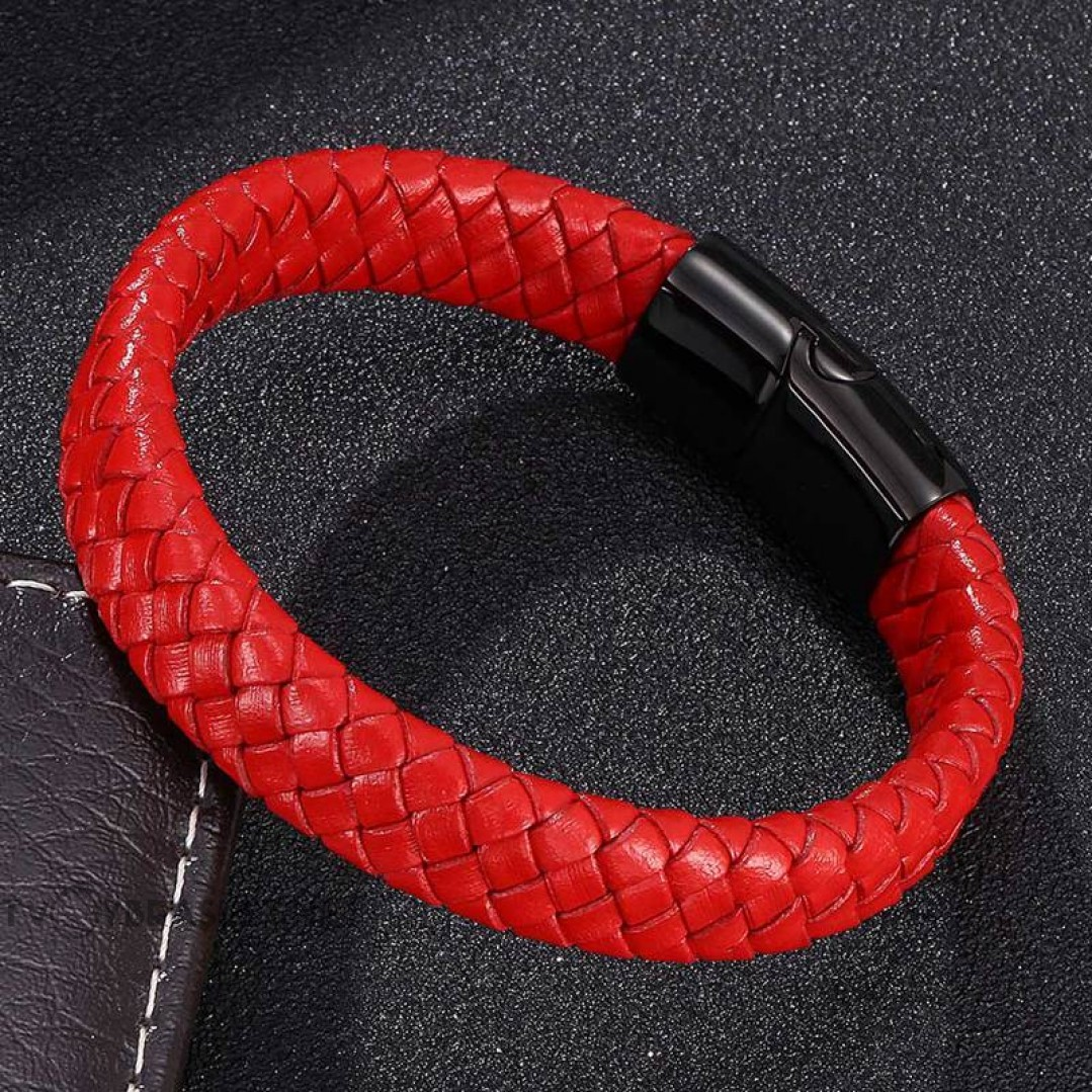 Браслет кожаный красный с магнитным замком Твой Браслет LTH234