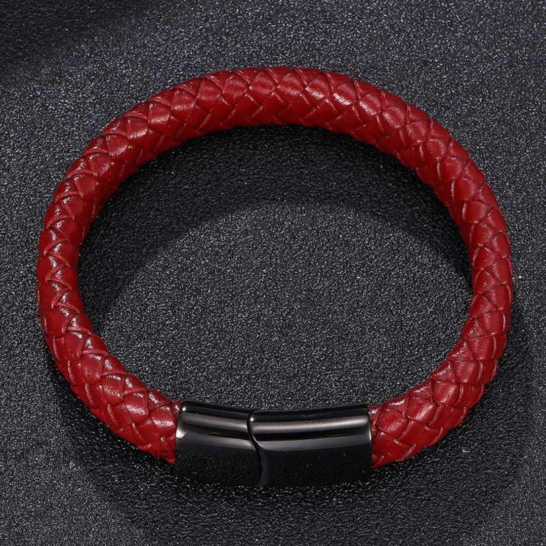 Браслет кожаный бордовый с магнитным замком Твой Браслет LTH235