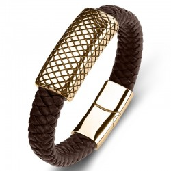 Браслет кожаный со стальной пряжкой коричневый Gold Твой Браслет LTH243
