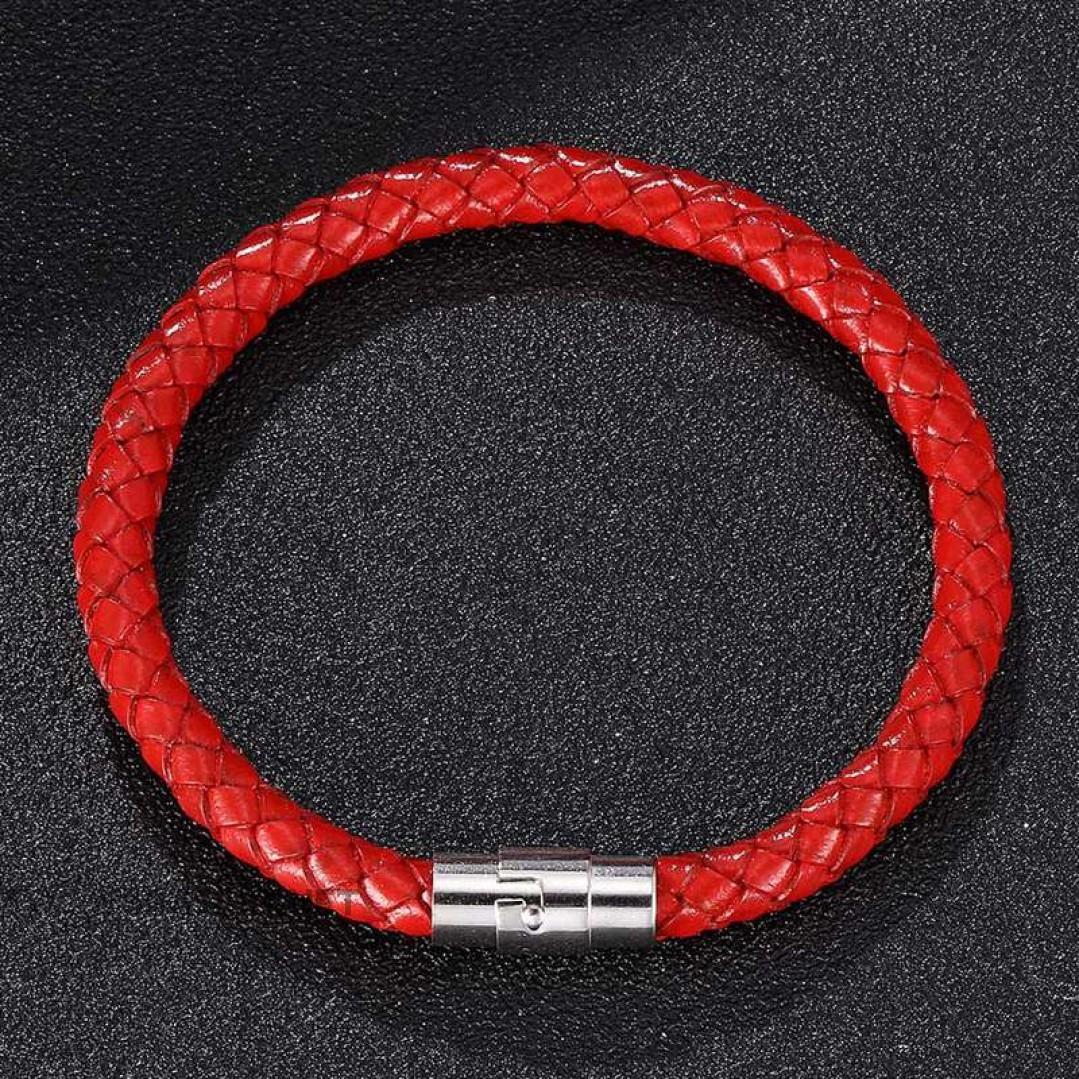 Браслет кожаный с магнитным замком красный Твой Браслет LTH245