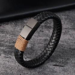Браслет кожаный черный с коричневой обмоткой магнитный замок Твой Браслет LTH248