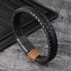 Браслет кожаный черный с магнитным замком Твой Браслет LTH248