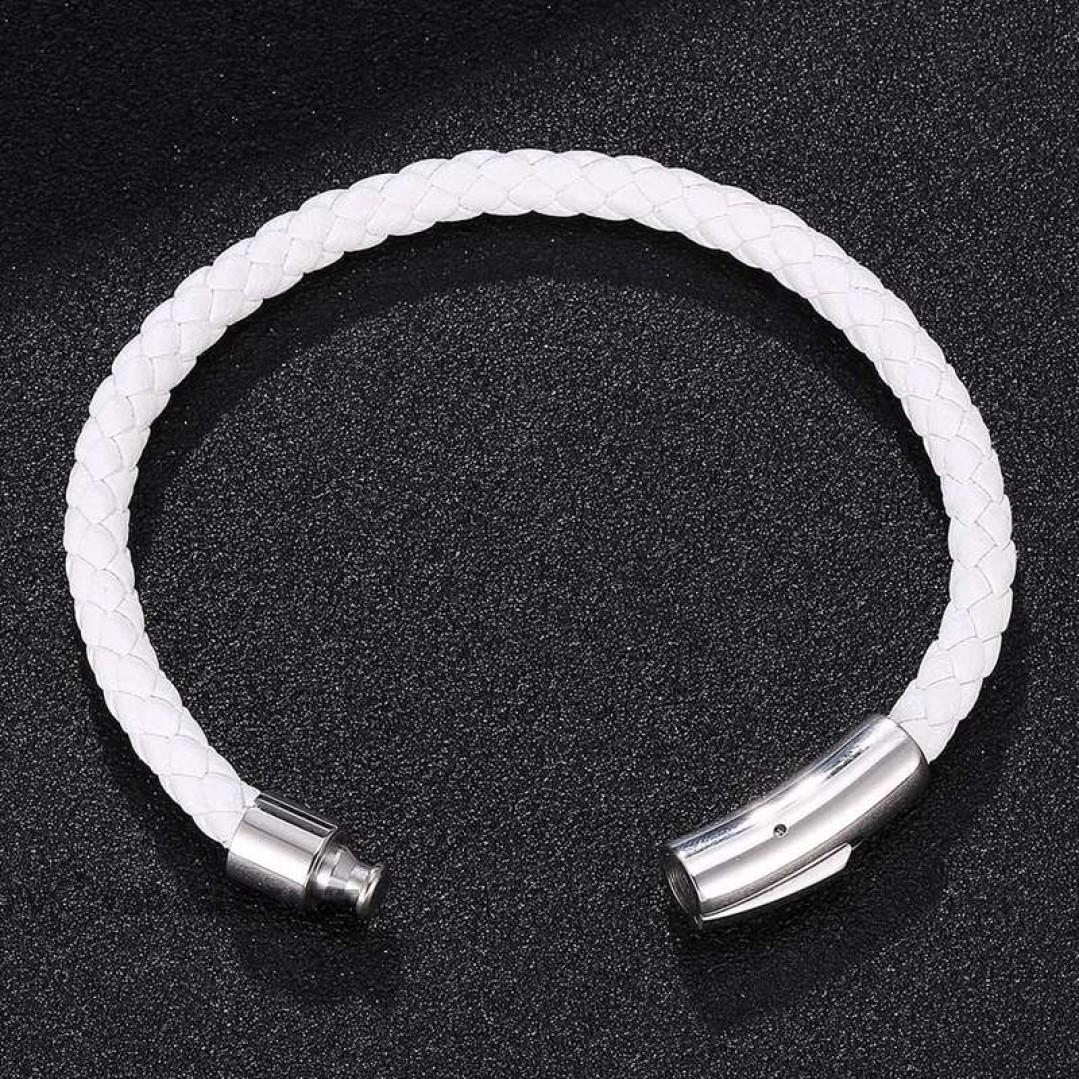 Браслет кожаный с магнитной застежкой белый Твой браслет LTH249