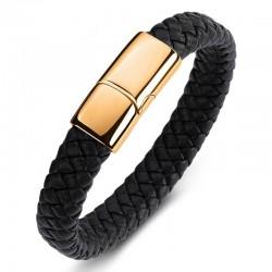 Браслет кожаный черный с магнитным замком Твой Браслет Gold LTH257