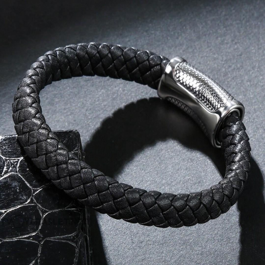 Браслет кожаный со стальным замком черный Твой Браслет LTH258