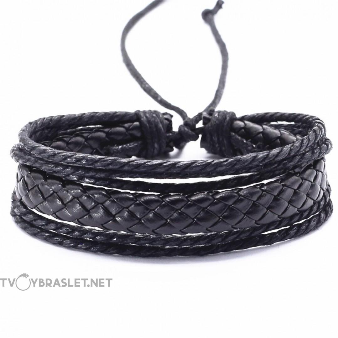 Браслет регулируемый многослойный черный Твой браслет LTH263