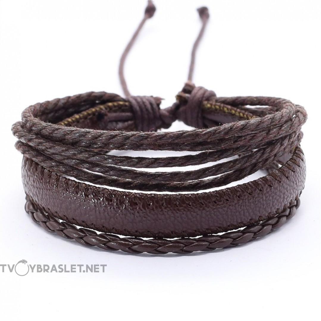 Браслет регулируемый многослойный коричневый Твой браслет LTH266