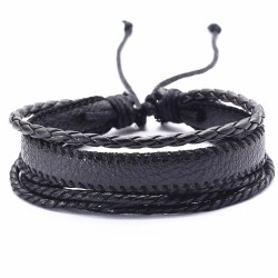Браслет регулируемый многослойный черный Твой браслет LTH267