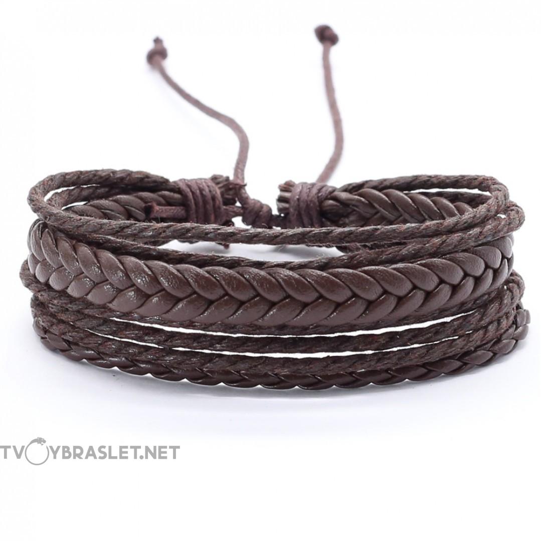 Браслет регулируемый многослойный коричневый Твой браслет LTH268