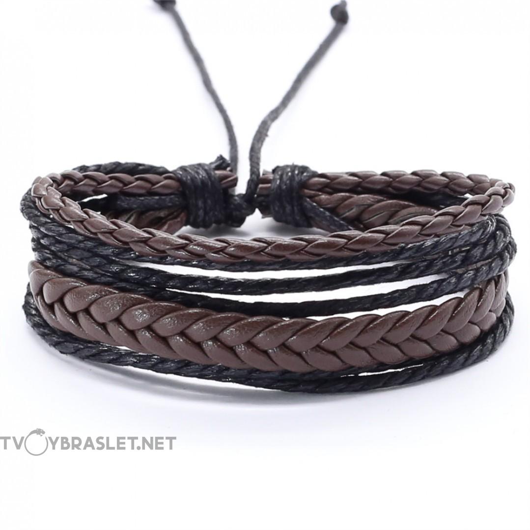 Браслет регулируемый многослойный коричневый с черным Твой браслет LTH269