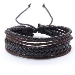 Браслет регулируемый многослойный черный с коричневым Твой браслет LTH270
